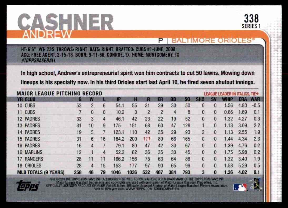 2019 Topps Andrew Cashner #338 card back image
