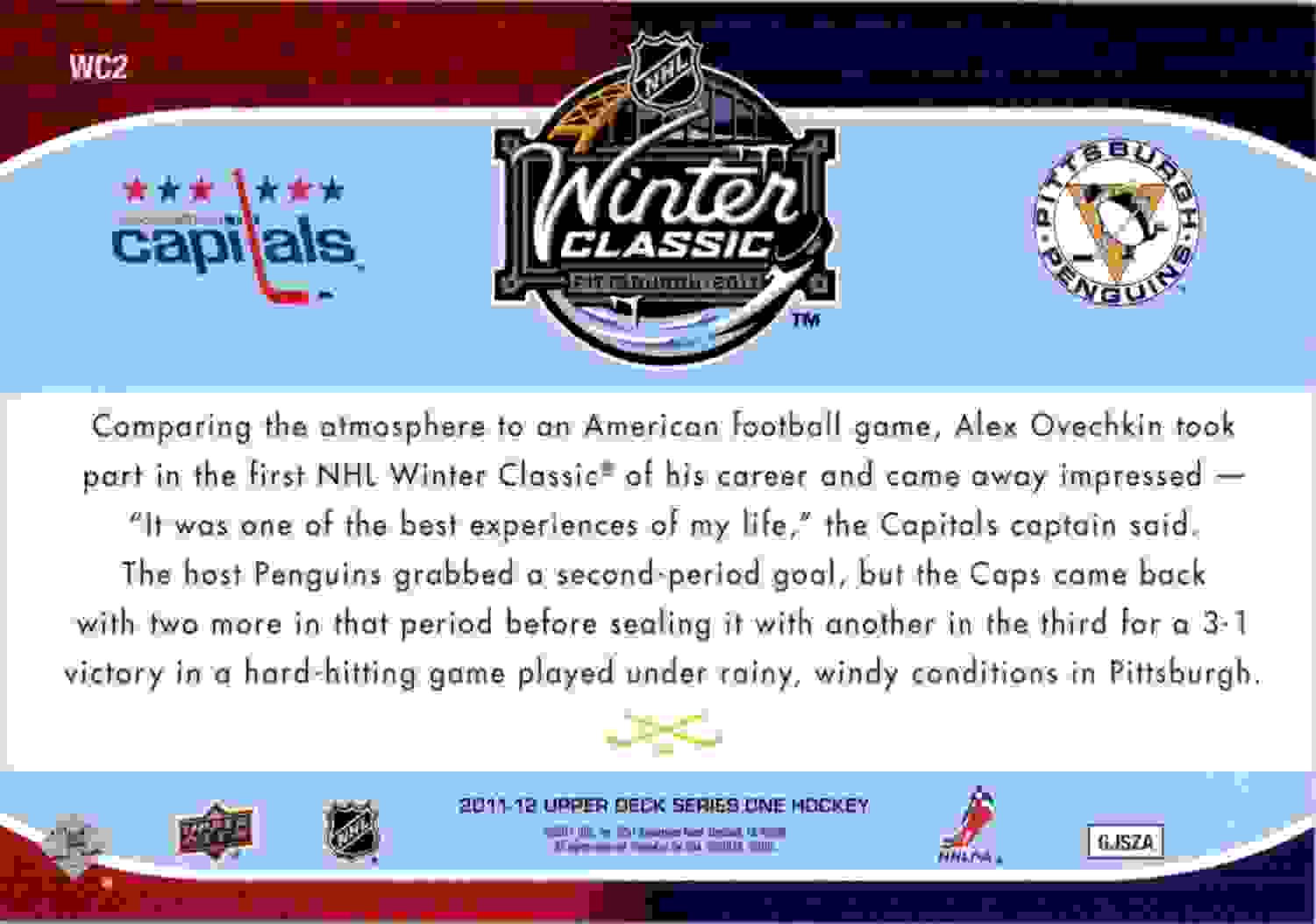 2011-12 Upper Deck Winter Classic Oversized Alexander Ovechkin #WC2 card back image