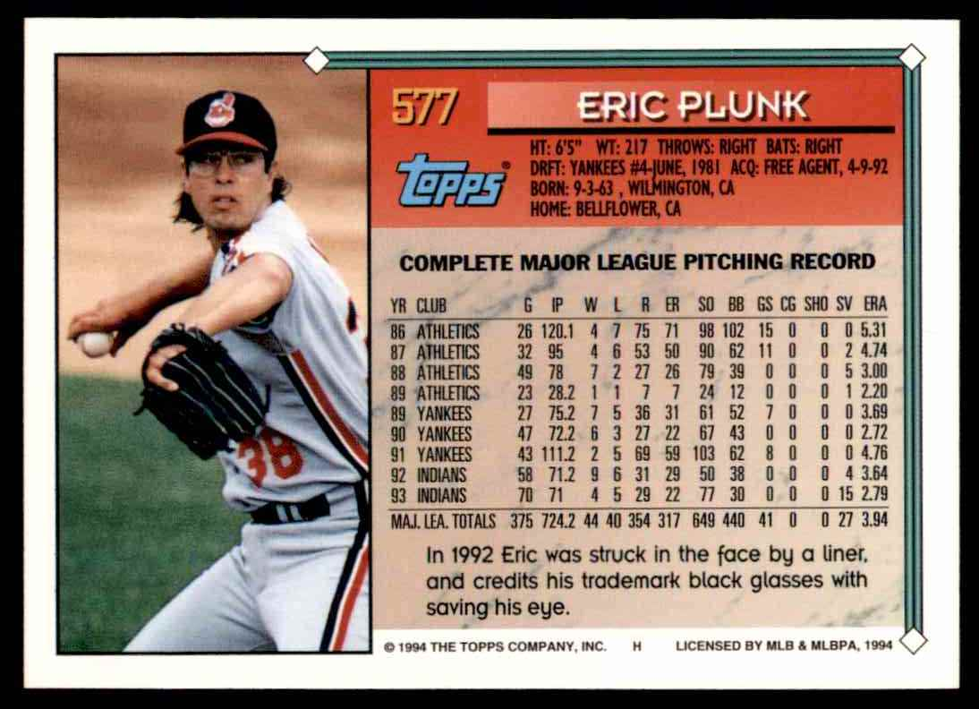 1994 Topps Eric Plunk #577 card back image