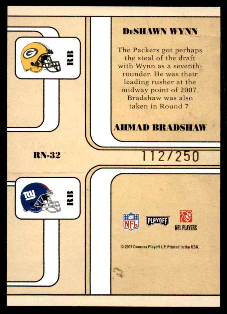 2007 Playoff Contenders Round Numbers Gold Holofoil DeShawn Wynn/Ahmad Bradshaw #32 card back image