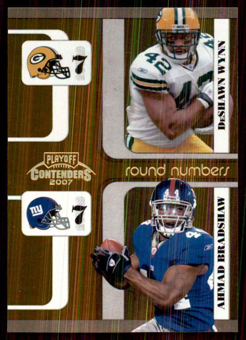 2007 Playoff Contenders Round Numbers Gold Holofoil DeShawn Wynn/Ahmad Bradshaw #32 card front image