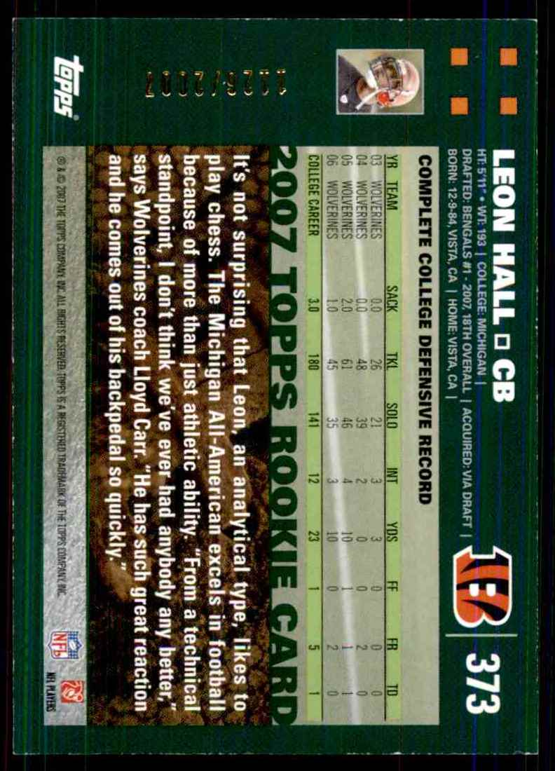 2007 Topps Copper Leon Hall #373 card back image