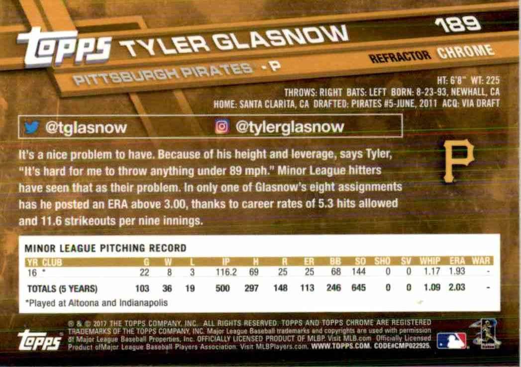 2017 Topps Chrome Pink Refractor Tyler Glasnow #189 card back image