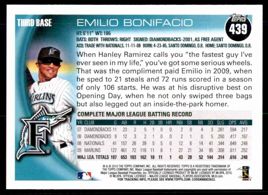 2010 Topps Emilio Bonifacio #439 card back image