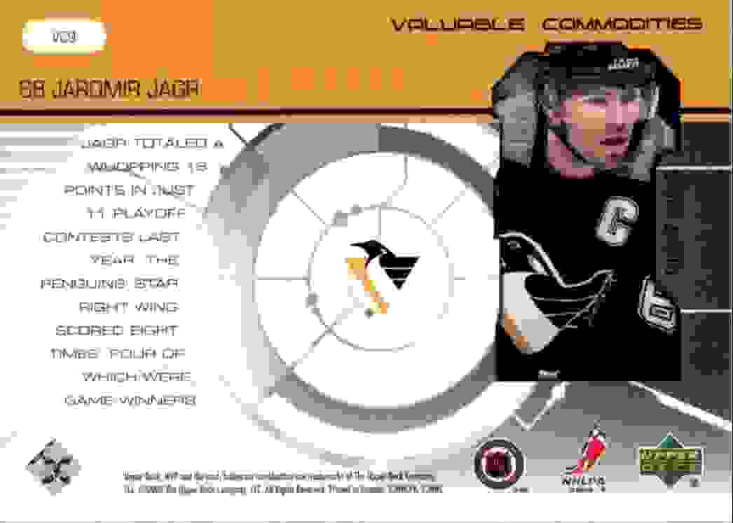 2000-01 Upper Deck MVP Valuable Commodities Jaromir Jagr #VC9 card back image