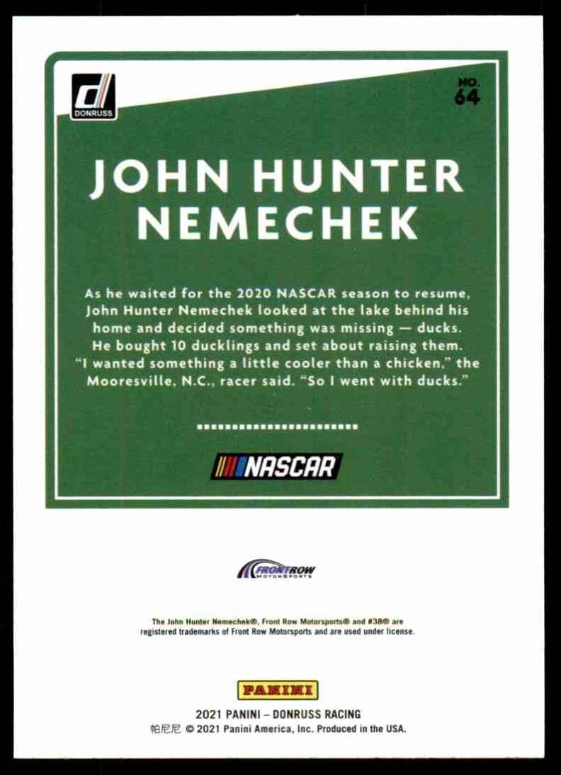 2021 Donruss John Hunter Nemechek #64 card back image