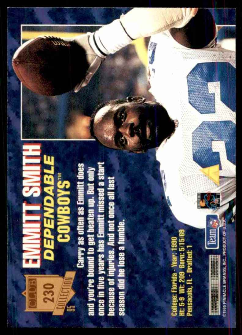 1995 Pinnacle Club Collection Emmitt Smith #230 card back image