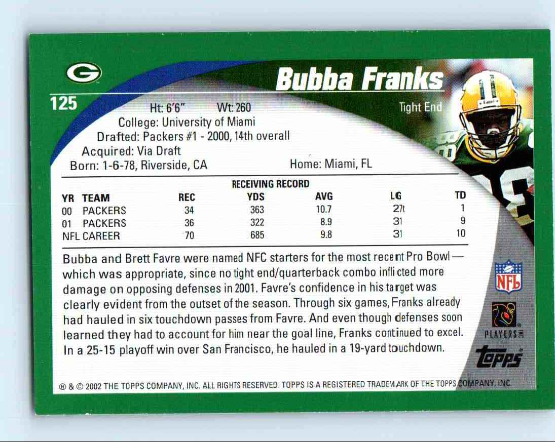 2002 Topps Bubba Franks #125 card back image