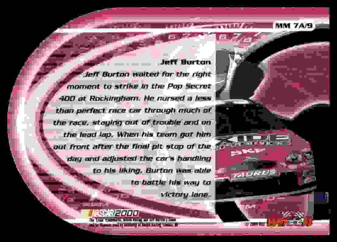 2000 Wheels High Gear Man And Machine Drivers Jeff Burton #MM7A card back image