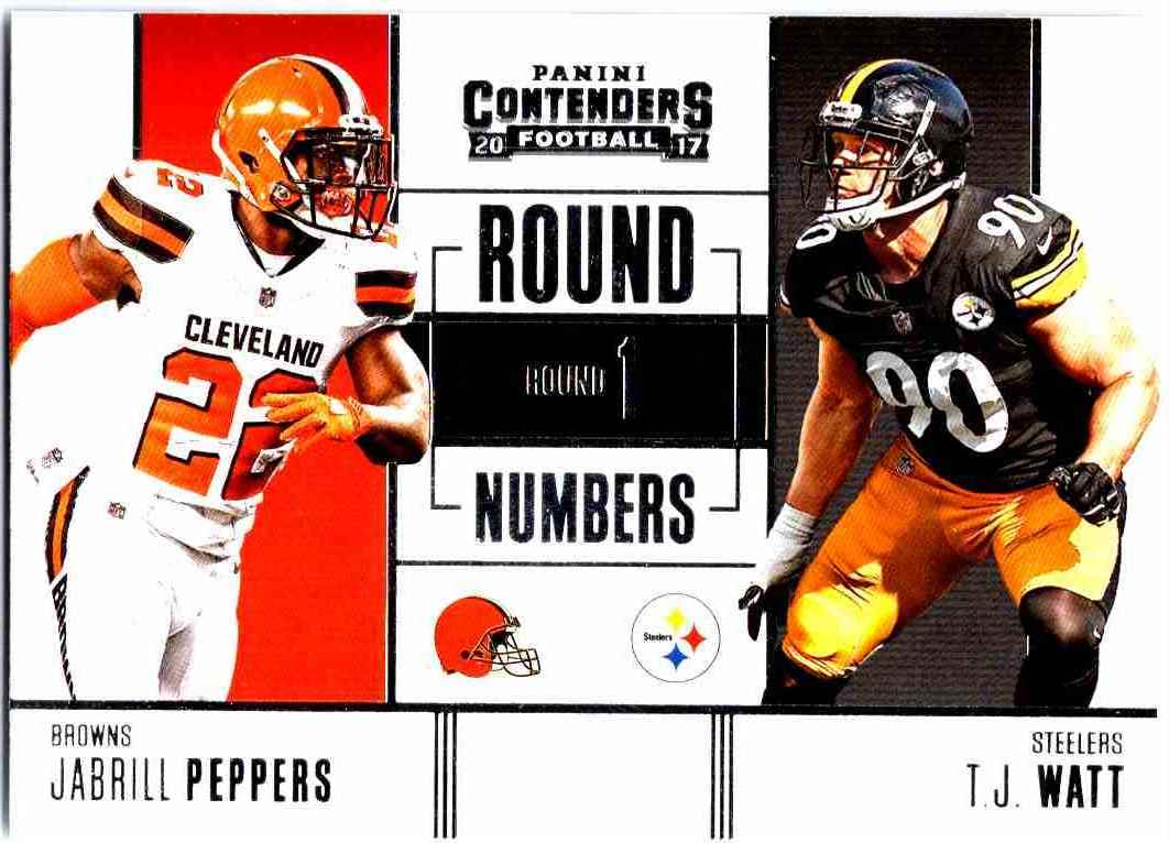 4ef81d8859e 2017 Panini Contenders Round Numbers Jabrill Peppers T.J. Watt  RN-3