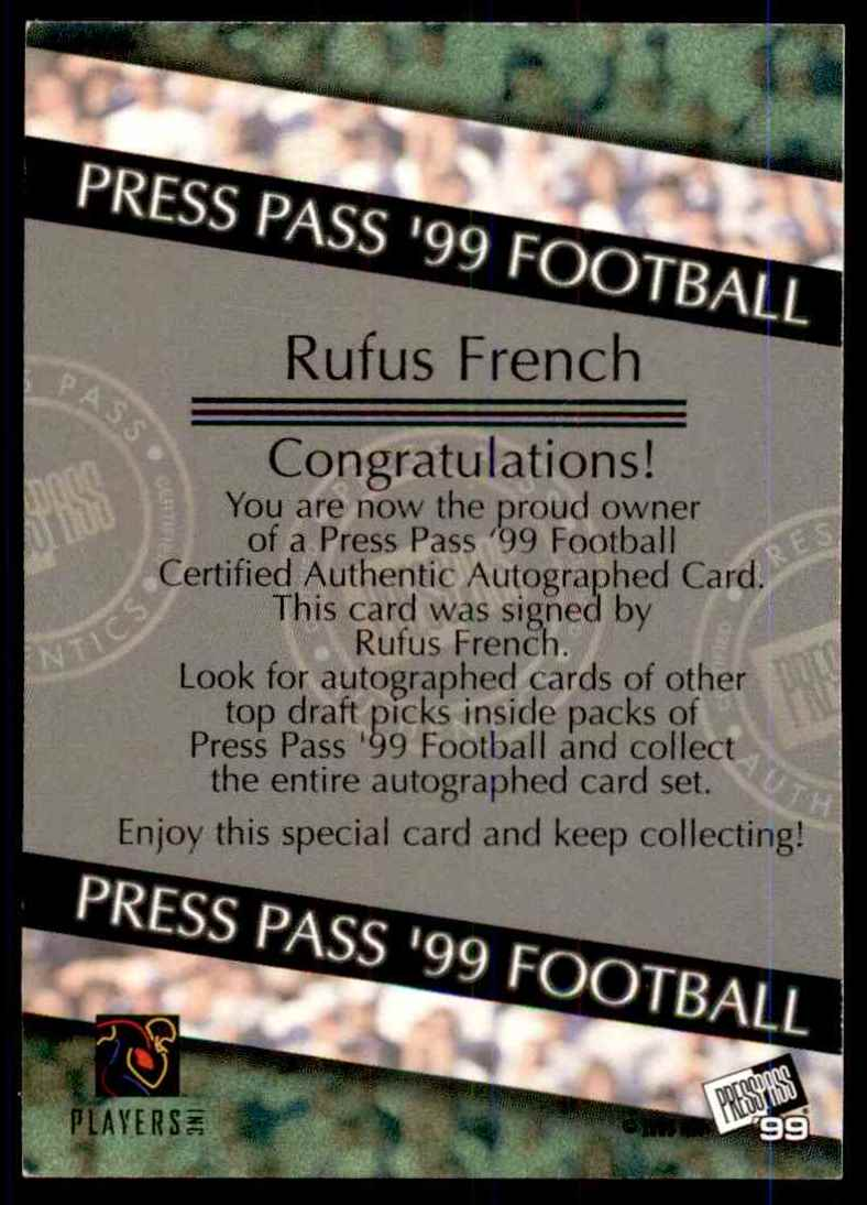 1999 Press Pass Autographs Rufus French #39 card back image