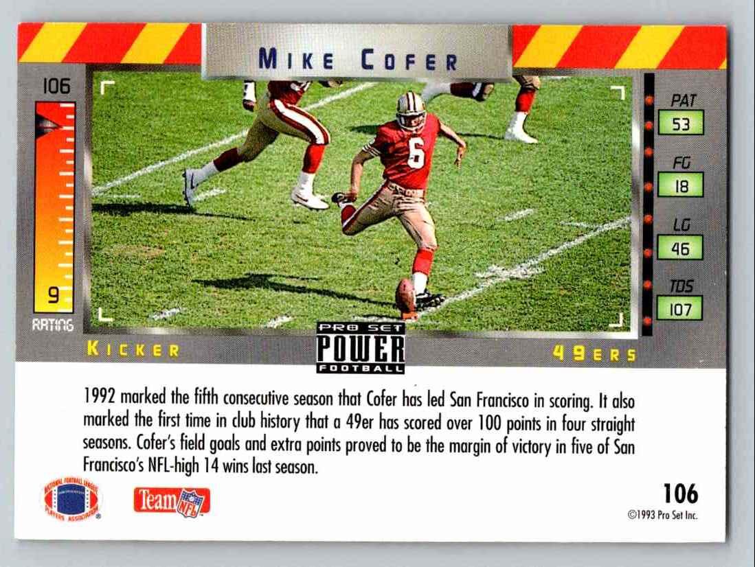1993 Pro Set Mike Cofer #106 card back image