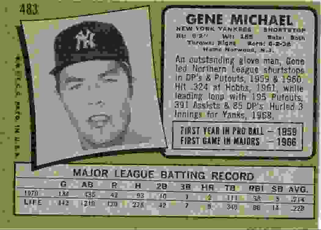 1970 Topps Gene Michael #483 card back image
