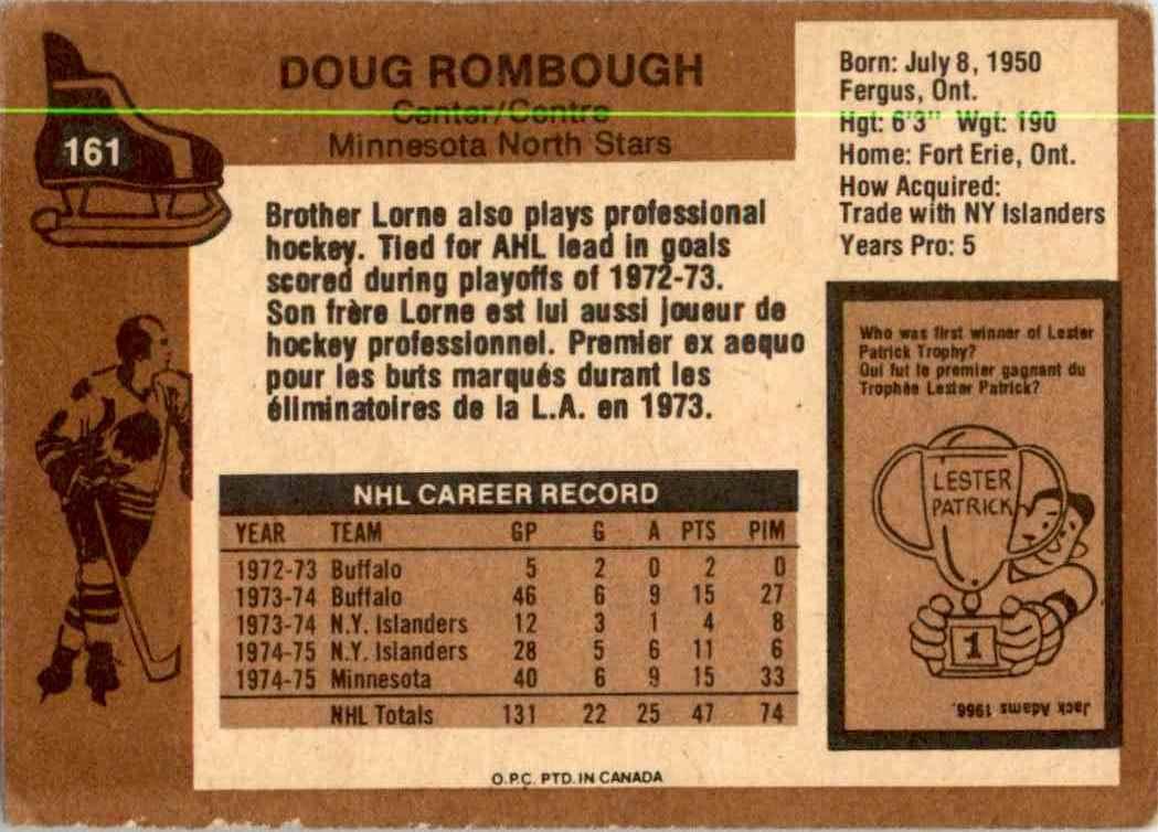 1975-76 O-Pee-Chee Doug Rombough #161 card back image