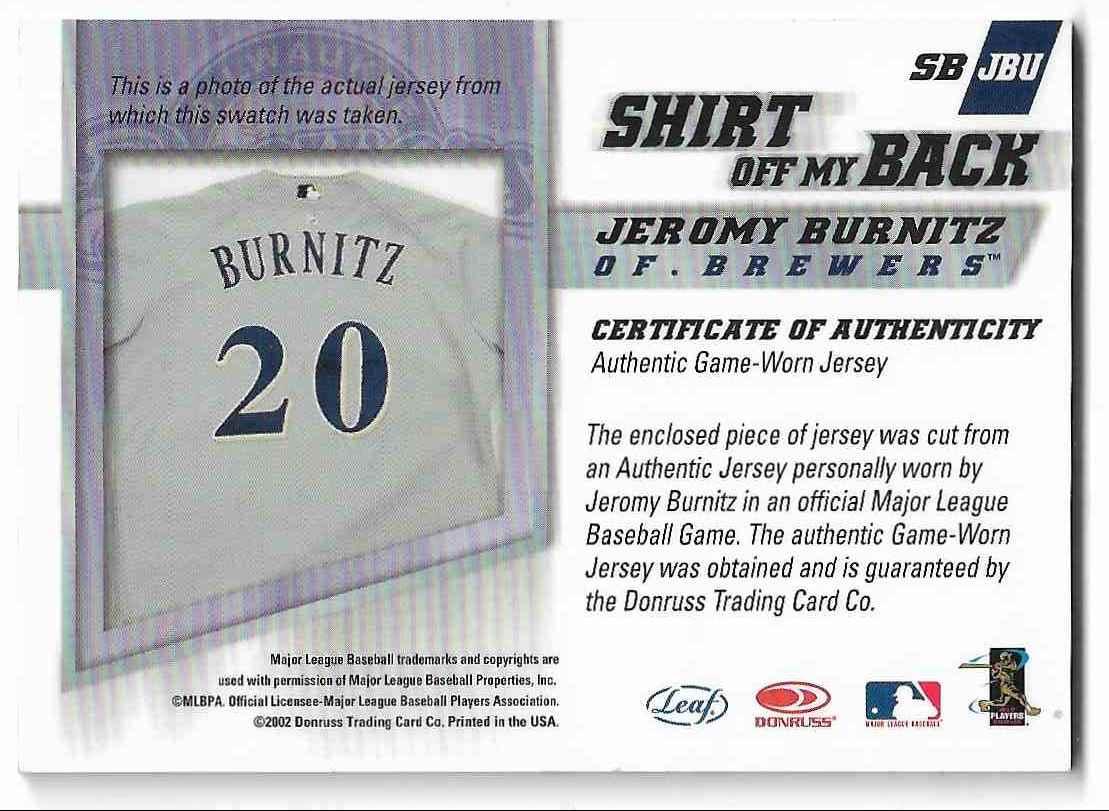 2002 Leaf Jeromy Burnitz #SB-JBU card back image