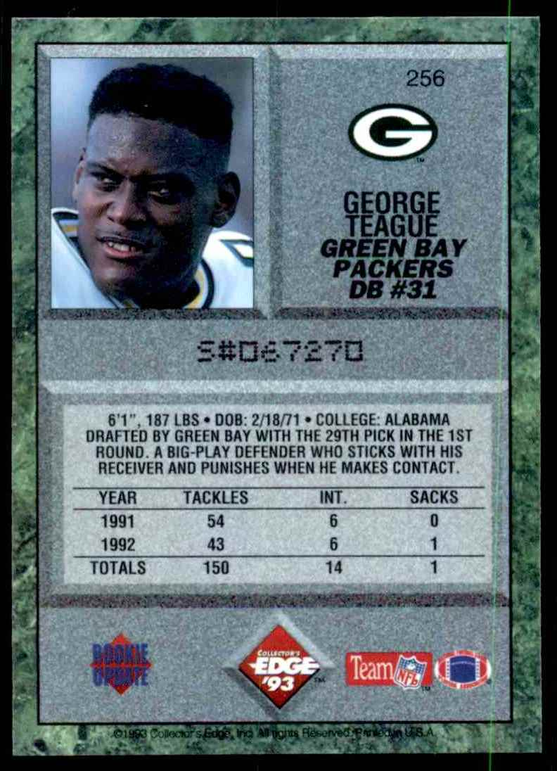 1993 Collector's Edge George Teague RC #256 card back image
