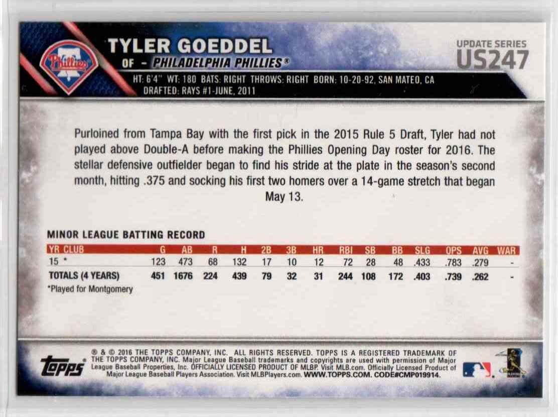 2016 Topps Update Tyler Goeddel #US247 card back image