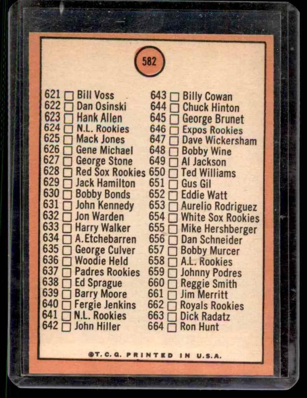 1969 Topps Red Circle Tony Oliva #582 card back image