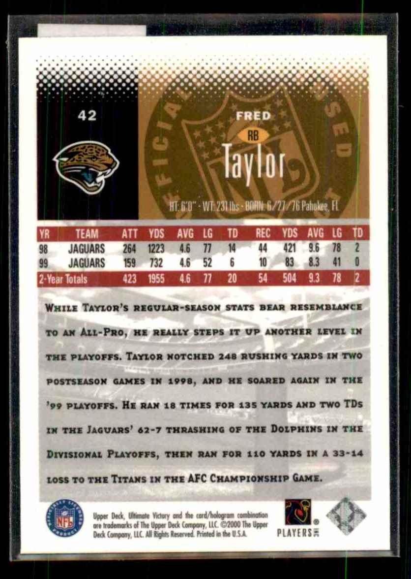 2000 Upper Deck Ultimate Victory Fred Taylor #42 card back image