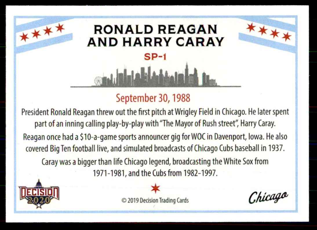 2020 Decision Chicago Poltiics Ronald Reagon And Harry Caray #SP-1 card back image