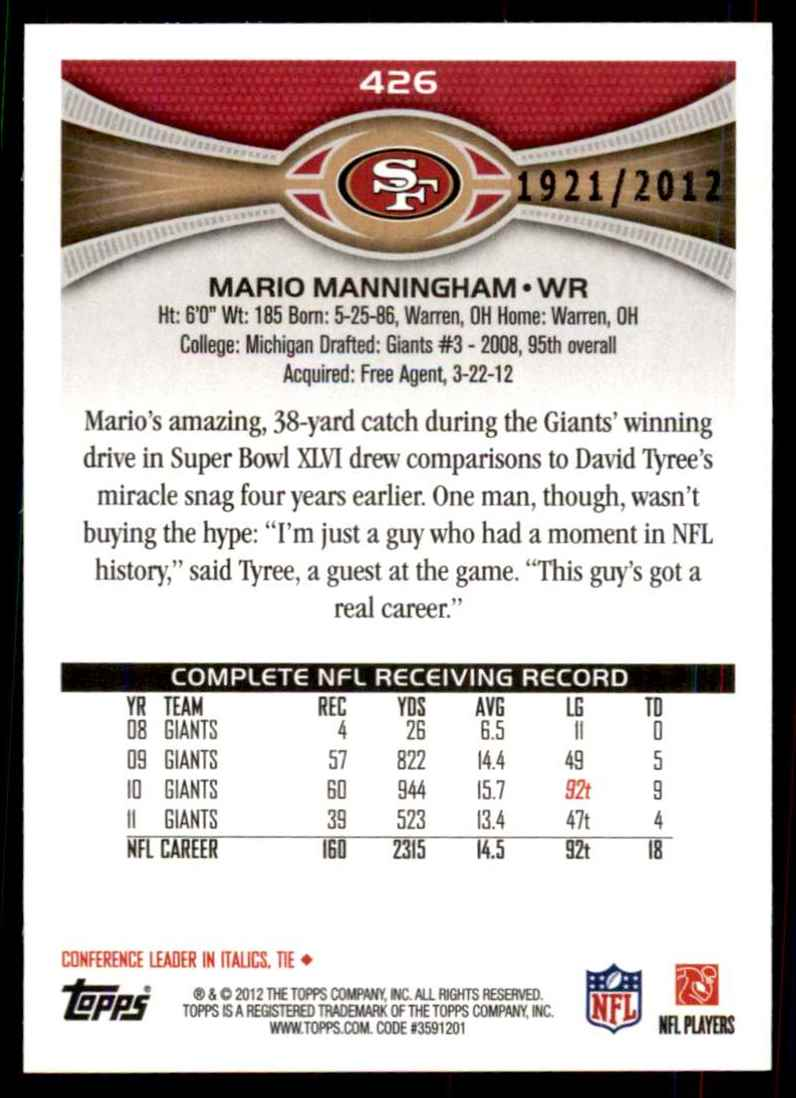2012 Topps Gold Mario Manningham #426 card back image