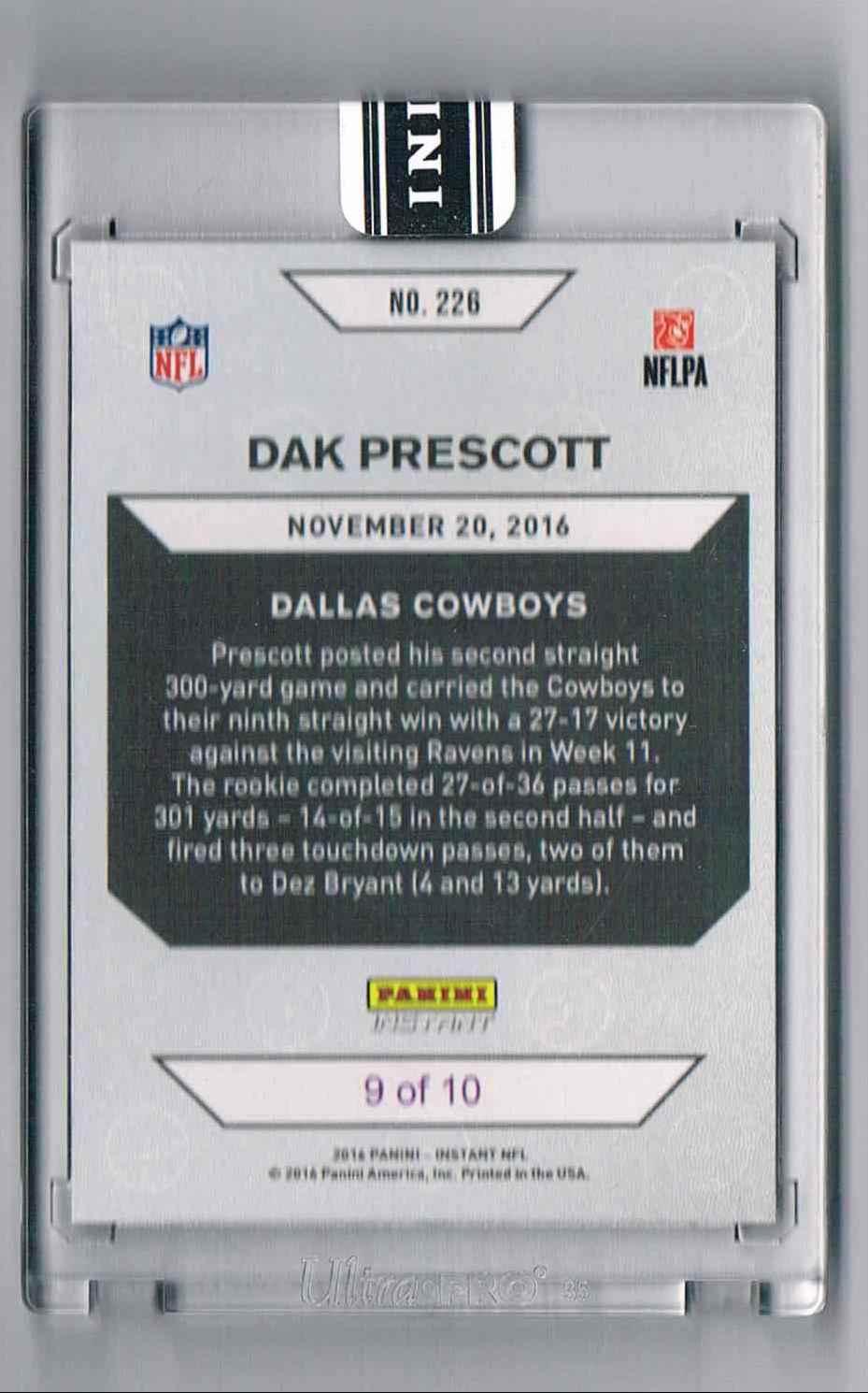 2016 Panini Instant-11-20-16 Dak Prescott card back image