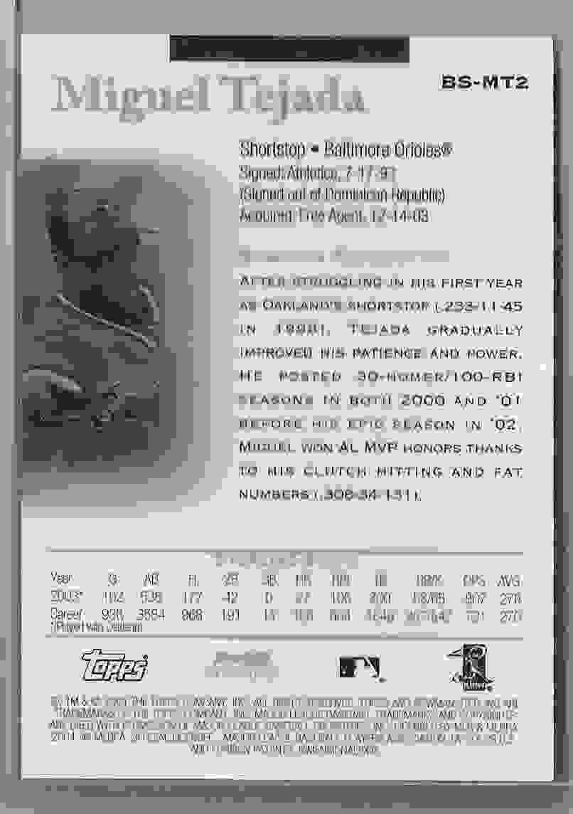 2004 Bowman Sterling Miguel Tejada #MT2 card back image