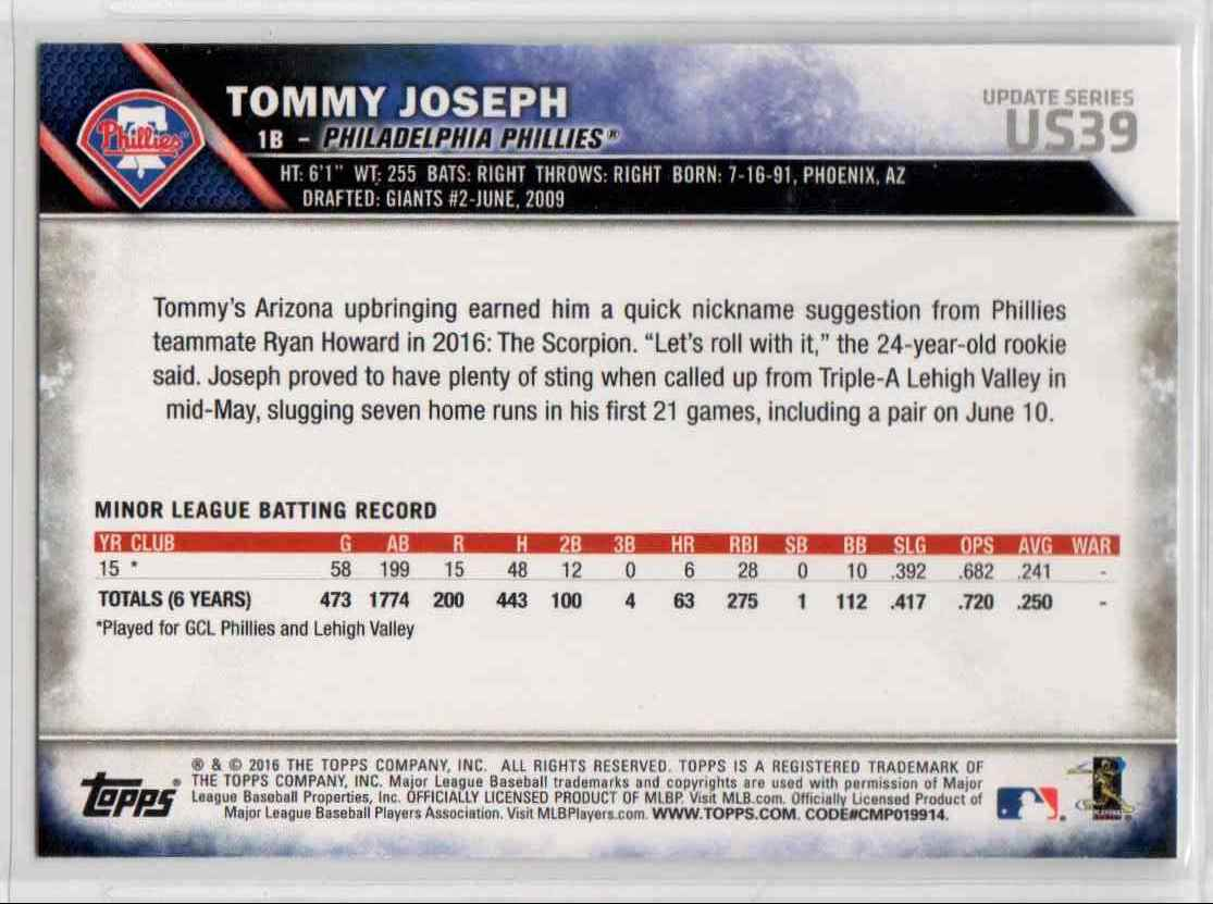 2016 Topps Update Tommy Joseph #US39 card back image