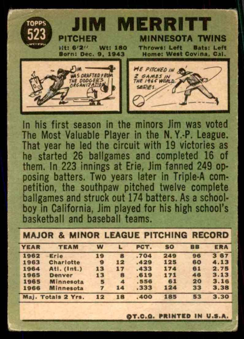 1967 Topps Jim Merritt #523 card back image