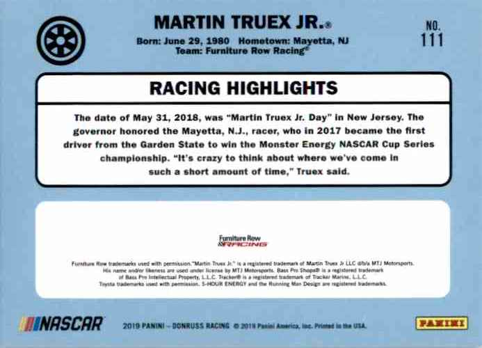 2019 Donruss Martin Truex JR. Retro #111 card back image