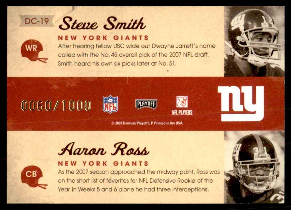 2007 Playoff Contenders Draft Class Steve Smith USC/Aaron Ross #19 card back image