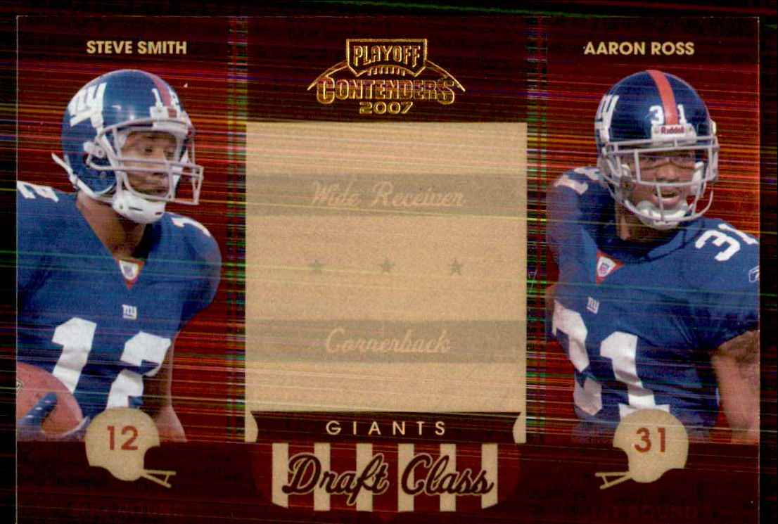 2007 Playoff Contenders Draft Class Steve Smith USC/Aaron Ross #19 card front image