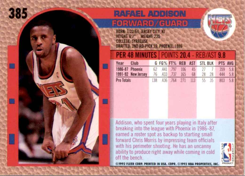 1992-93 Fleer Rafael Addison #385 card back image