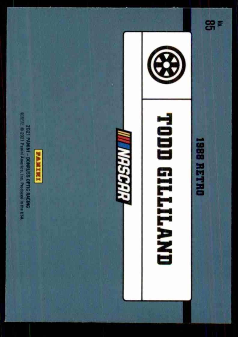 2021 Donruss Optic Todd Gilliland Retro #85 card back image