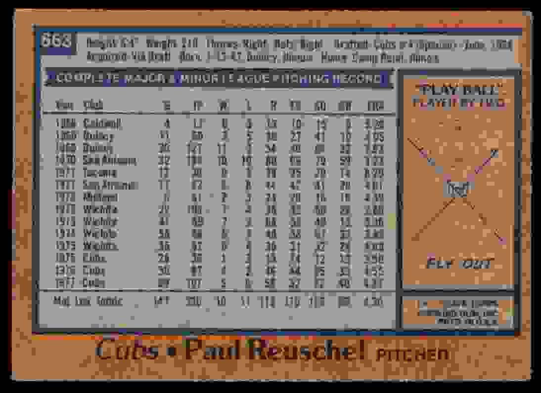 1978 Topps Paul Reuschel #663 card back image