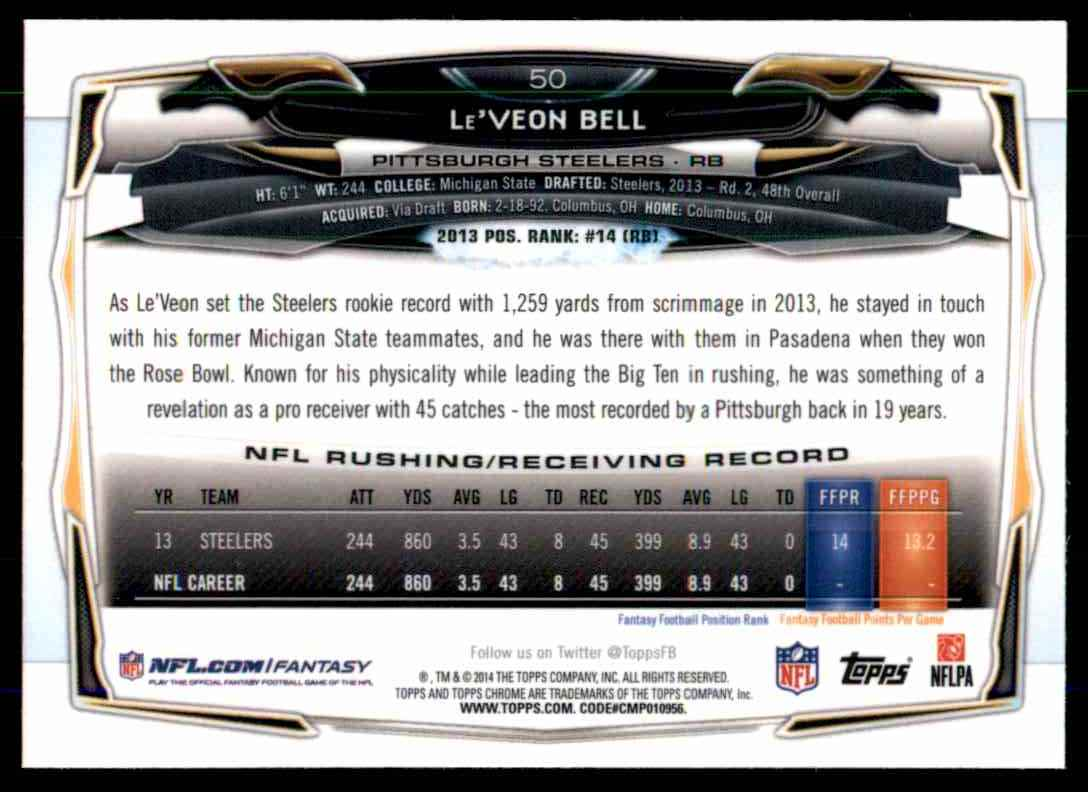 2014 Topps Chrome Refractors Le'Veon Bell #50 card back image