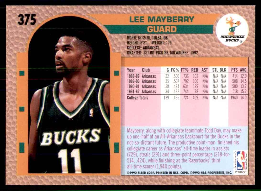 1992-93 Fleer Lee Mayberry RC #375 card back image