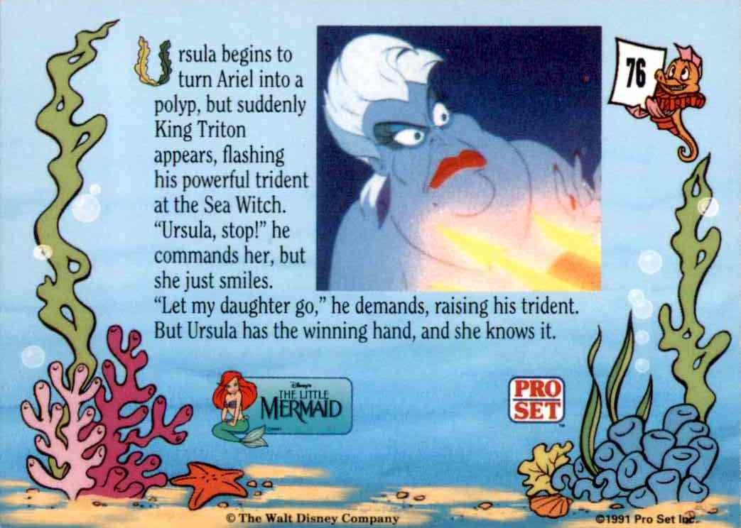 1991 Little Mermaid Ursula Begins To Turn Ariel Into Polyp #76 card back image