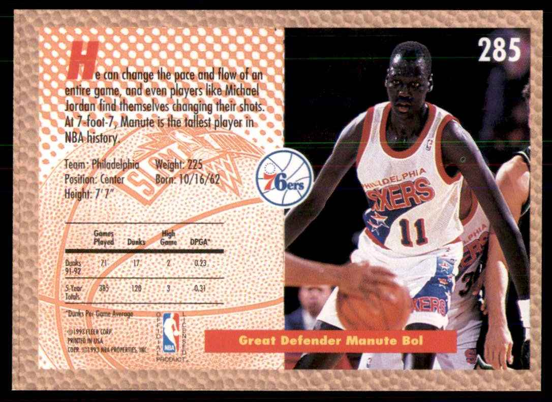 1992-93 Fleer Manute Bol Sd #285 card back image