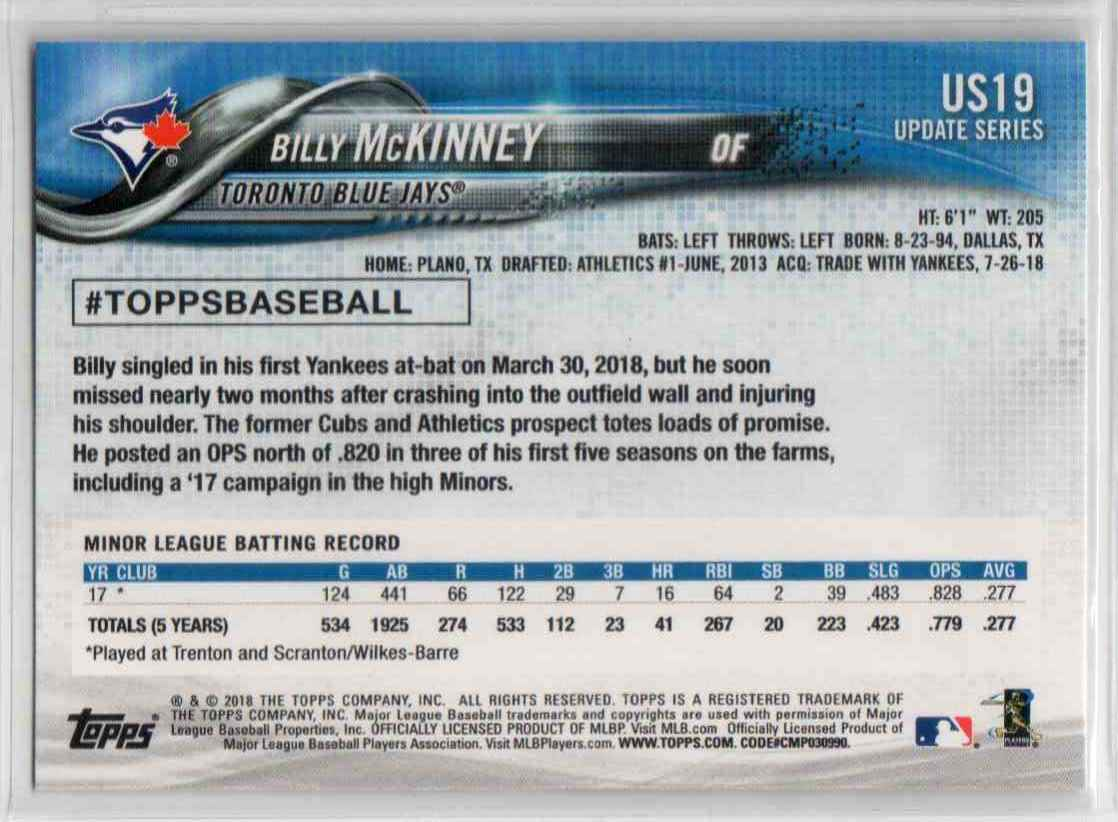 2018 Topps Update Billy McKinney #US19 card back image