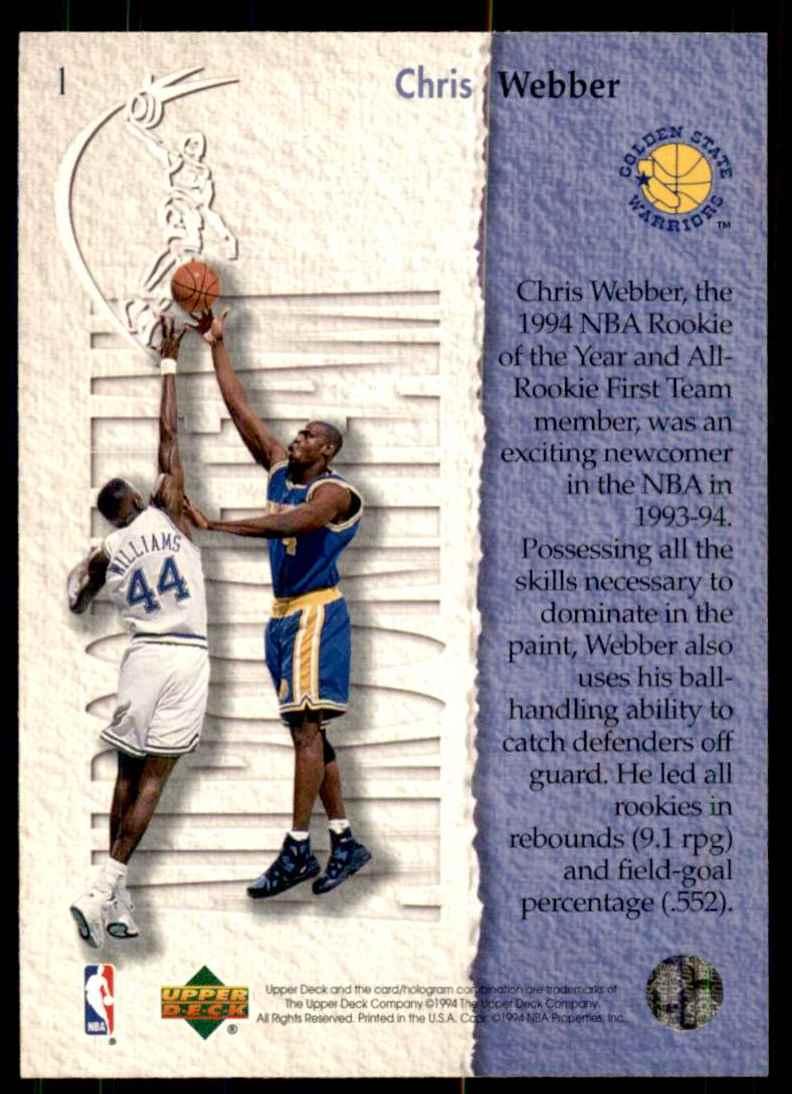 1994-95 Upper Deck Chris Webber Art #1 card back image
