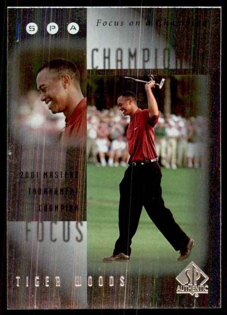 2001 SP Authentic Focus On A Champion Tiger Woods #FC1 card front image