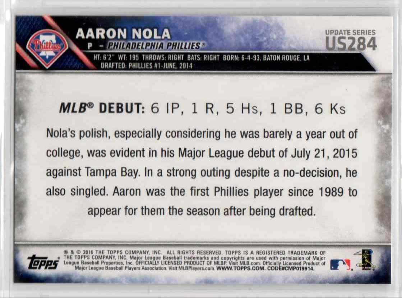 2016 Topps Update Aaron Nola RD #US284 card back image