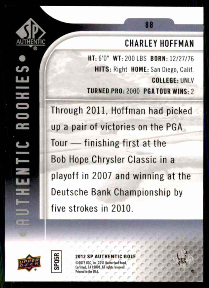 2012 SP Authentic Charley Hoffman/999 RC #88 card back image