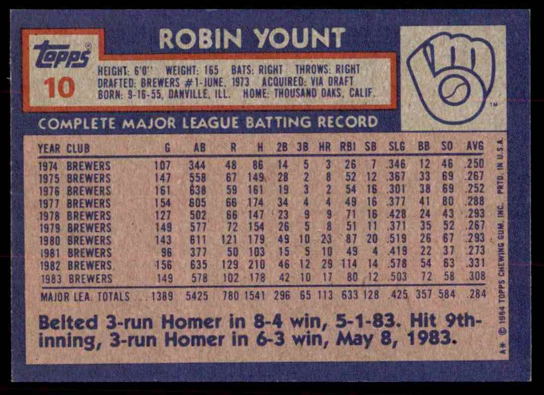 1984 Topps Robin Yount #10 card back image
