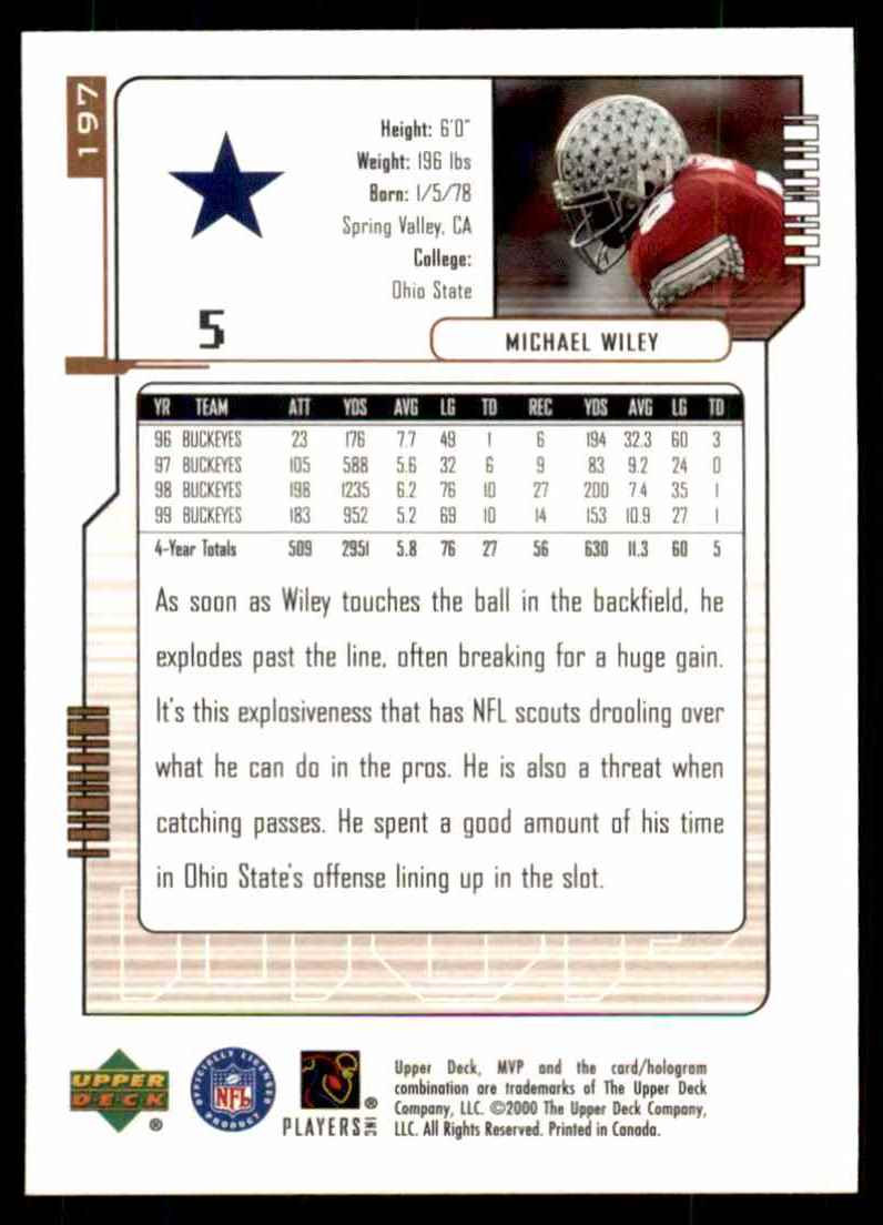 2000 Upper Deck MVP Michael Wiley #197 card back image