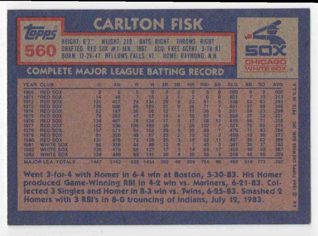 1984 Topps Carlton Fisk #560 card back image