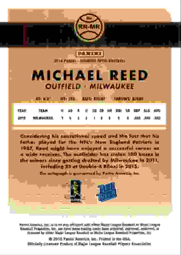2016 Donruss Optic Michael Reed #RR-MR card back image