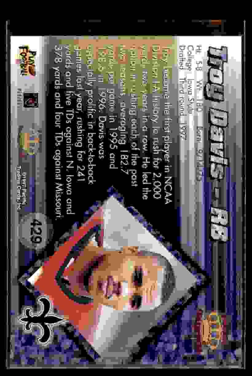 1997 Pacific Troy Davis #429 card back image