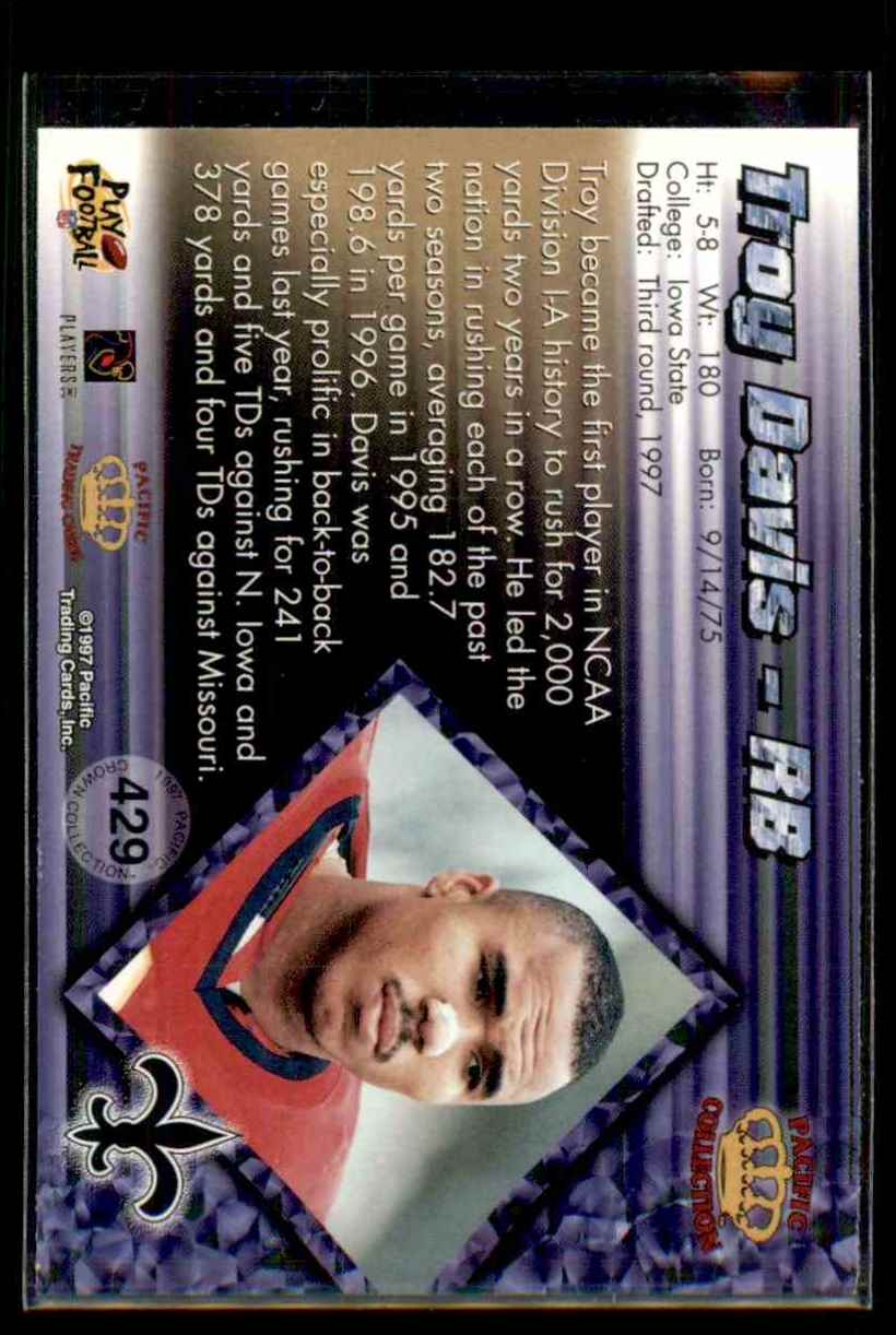 1997 Pacific Troy Davis #429 card back image